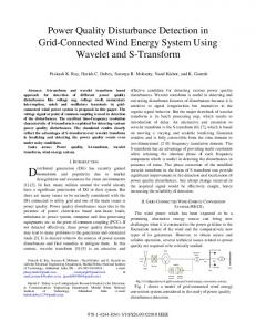 Power Quality Disturbance Detection in Grid-Connected Wind Energy ...