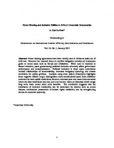 Power Sharing and Inclusive Politics in Africa's Uncertain Democracies