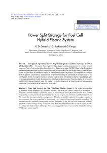 Power Split Strategy for Fuel Cell Hybrid Electric System