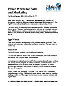 Power Words for Sales and Marketing - Sales Training Seminars ...