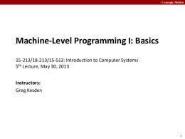 PowerPoint Presentation - Introduction to Computer Systems 15-213 ...