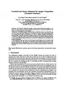 Practical and Secure Solutions for Integer Comparison (Extended ...