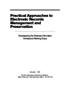 Practical Approaches to Electronic Records Management and ...