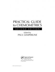 PRACTICAL GUIDE to CHEMOMETRICS