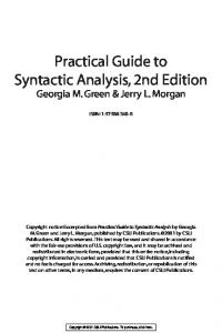 Practical Guide to Syntactic Analysis, 2nd Edition - CSLI Publications