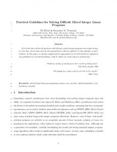 Practical Guidelines for Solving Difficult Mixed Integer ... - Inside Mines