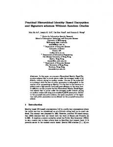 Practical Hierarchical Identity Based Encryption and Signature ...