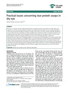 Practical issues concerning tear protein assays in dry eye | SpringerLink
