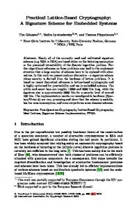 Practical Lattice-Based Cryptography: A Signature Scheme for ...