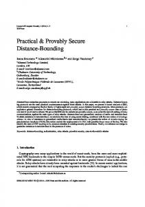 Practical & Provably Secure Distance-Bounding - Semantic Scholar