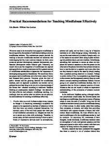 Practical Recommendations for Teaching Mindfulness ... - Springer Link