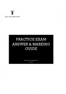 PRACTICE EXAM ANSWER & MARKING GUIDE