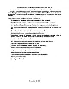 Practice Exercises For Mathematics Placement Test - Test 2 ...