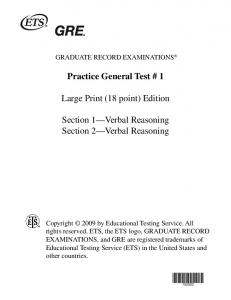 Practice General Test # 1 Large Print (18 point) Edition Section 1 ...