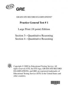 Practice General Test # 1 Large Print (18 point) Edition ... - ETS
