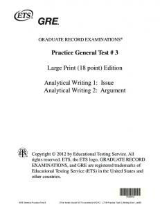 Practice General Test # 3 Large Print (18 point) Edition ... - ETS