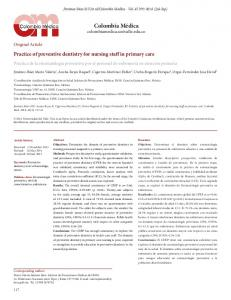 Practice of preventive dentistry for nursing staff in primary care