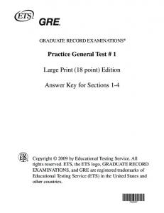 Practice Test 1 Answers 18 point - ETS