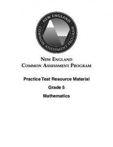 Practice Test Resource Material Grade 5 Mathematics