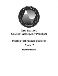 Practice Test Resource Material Mathematics Grade 7
