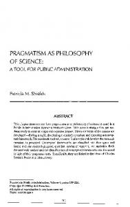 PRAGMATISM AS PHILOSOPHY OF SCIENCE: