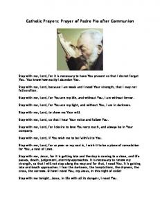Prayer of Padre Pio after Communion - St. Charles Borromeo ...