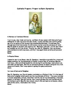 Prayer to Saint Dymphna - St. Charles Borromeo Catholic Church
