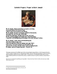 Prayer to Saint Joseph - St. Charles Borromeo Catholic Church