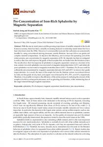 Pre-Concentration of Iron-Rich Sphalerite by Magnetic ... - MDPI
