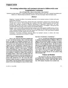 Pre-existing malnutrition and treatment outcome in children with acute ...
