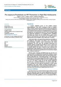 Pre-exposure Prophylaxis as HIV Prevention in High Risk Adolescents
