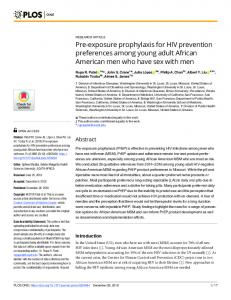 Pre-exposure prophylaxis for HIV prevention preferences ... - PLOS