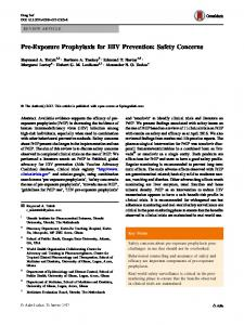 Pre-Exposure Prophylaxis for HIV Prevention: Safety Concerns
