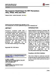 Pre-exposure Prophylaxis for HIV Prevention - Semantic Scholar