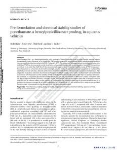 Pre-formulation and chemical stability studies of