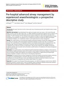 Pre-hospital advanced airway management by experienced ...