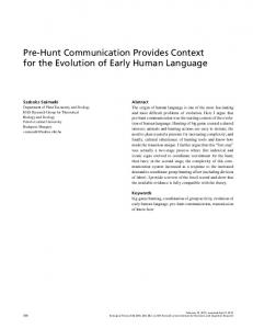 Pre-Hunt Communication Provides Context for the Evolution of Early ...