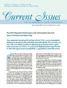 Pre-IPO Financial Performance and Aftermarket Survival - CiteSeerX