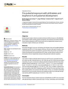 Pre-pubertal exposure with phthalates and bisphenol A and ... - PLOS
