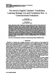 Pre-service English Teachers' Vocabulary Learning Strategy Use and