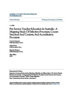 Pre-Service Teacher Education In Australia : A