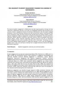 pre-university students' engagement towards the learning of ...