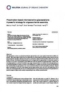 Preactivation-based chemoselective glycosylations - Beilstein Journals