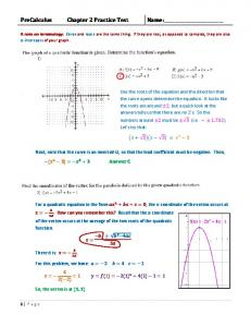 PreCalculus Chapter 2 Practice Test Name - MathGuy.US