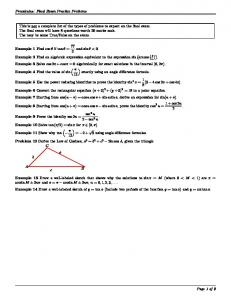 Precalculus: Final Exam Practice Problems This is not a complete ...