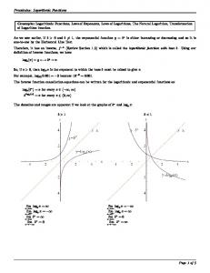 Precalculus: Logarithmic Functions Concepts: Logarithmic Functions ...