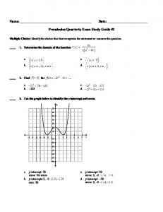 Precalculus Quarterly Exam Study Guide #2 - City of Fall River ...