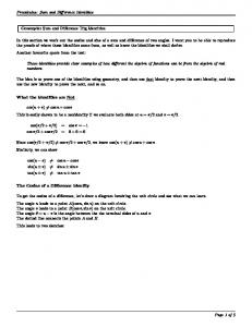 Precalculus: Sum and Difference Identities Concepts: Sum and ...