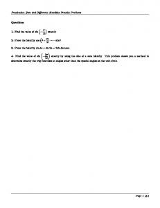 Precalculus: Sum and Difference Identities Practice Problems ...
