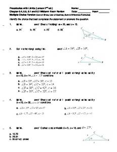 Precalculus with Limits (Larson 2 ed.) Name: Chapter 5.4, 5.5, 6.1 ...